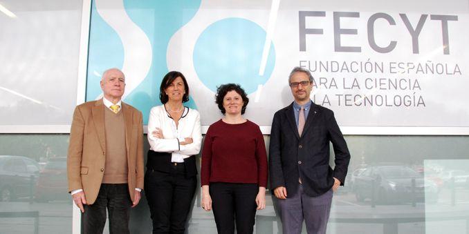De izquierda a derecha: Francisco  Marcellán,  Presidente de la Real Sociedad Matemática Española, RSME, Paloma Domingo, directora general de FECYT, Marián del Egido, coordinadora del MUNCYT y David Martín de Diego, Vicepresidente segundo de la RSME.