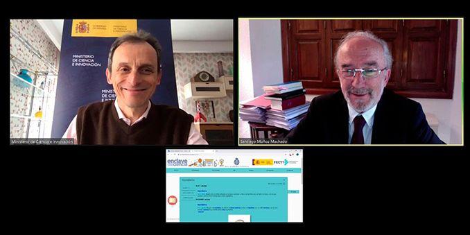 El director de la RAE presenta al ministro de Ciencia e Innovación la plataforma lingüística de «Enclave de ciencia»
